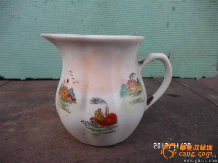 文革时期手绘图案农耕图漱口杯