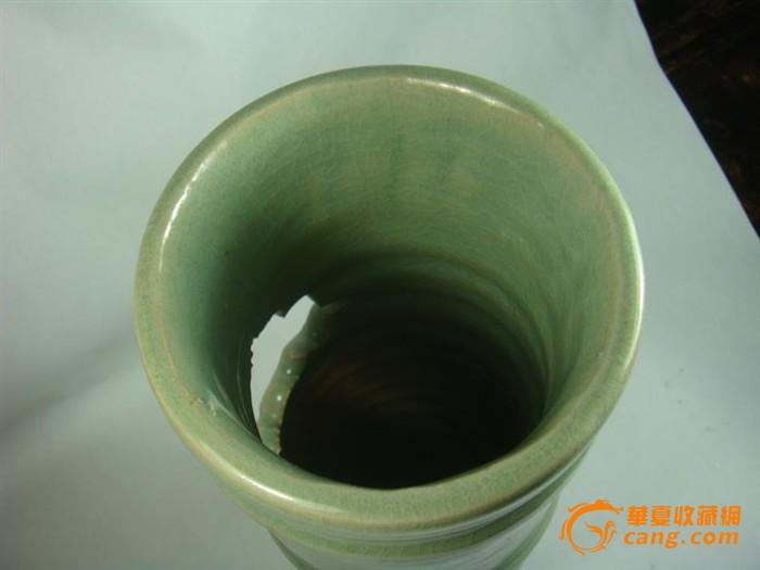 明早期浙江龙泉梅子青刻花龙纹牡丹纹竹节直桶瓶-包