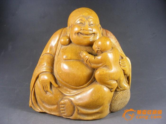 清代黄寿山圆雕抱童大肚佛摆件