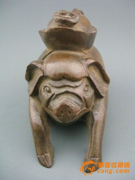 老竹子根雕刻猪元宝如意