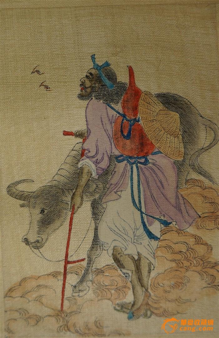 清晚期彩色手绘《蟠桃八仙会》绢本画,荷兰回流,包老包真!