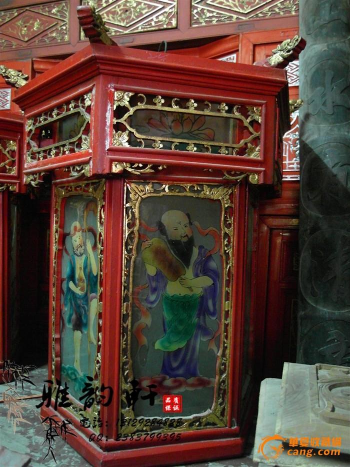 红漆雕花五彩玻璃灯笼