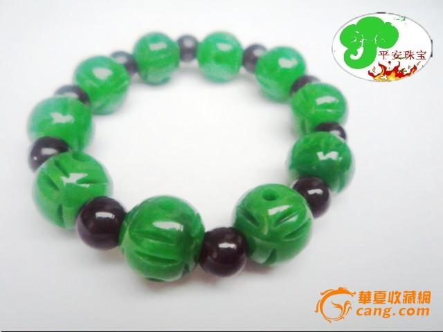 缅甸翡翠干青铁龙生 满绿色雕花圆珠手链 祖母绿手串男女款