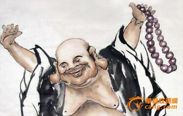 中国书画家协会理事四尺整张弥勒佛画像