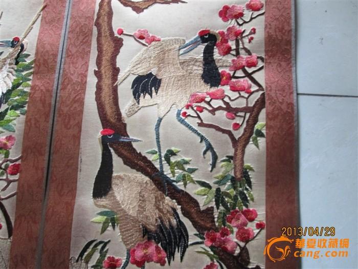 刺绣天鹅四扇屏