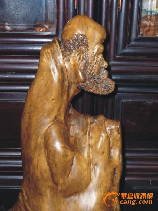 达摩老祖 根雕 根抱石摆件