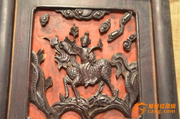 一对清代童子骑鸾骑麒麟精雕老木雕花板