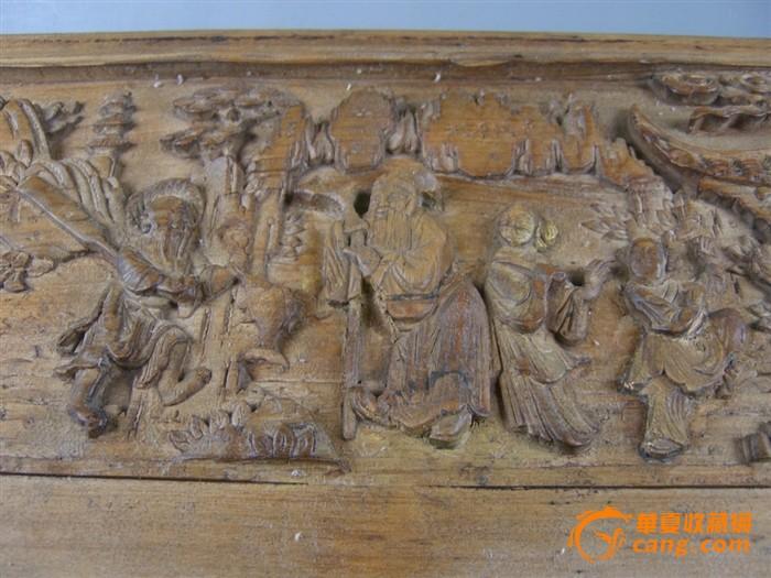 清代 木雕桃花源记人物故事多层次浮雕花板