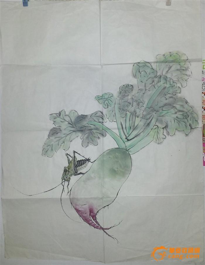 无款 工笔画 蝈蝈 萝卜 无款 工笔画 蝈蝈 萝卜 价