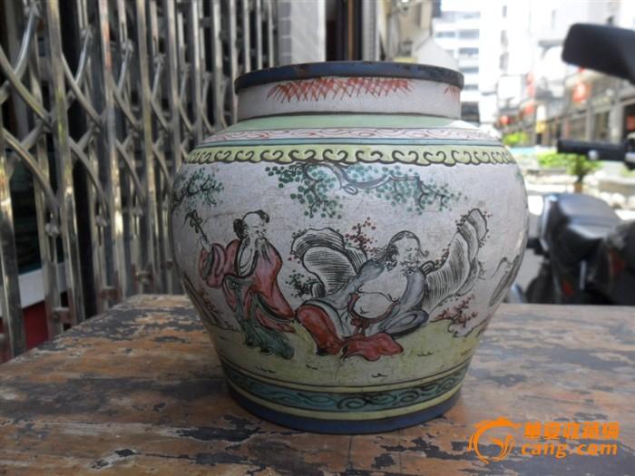 彩色人物八仙------紫砂茶叶罐