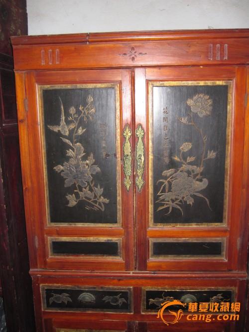 古董古玩木艺 民国时期手工彩绘描金双层花鸟大衣柜老