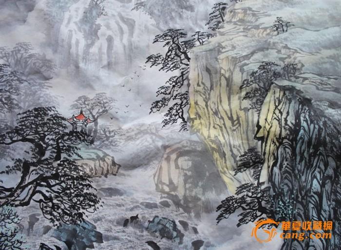 中国水墨山水画 瀑布戴云归海去 光绪宝广 纪念章 国画:瀑鸣撼山谷