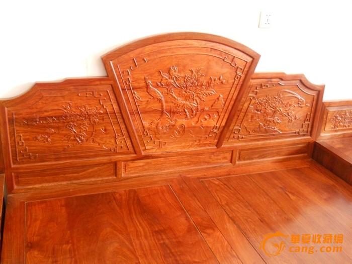 花梨木实木现代床,榫卯结构天然生气