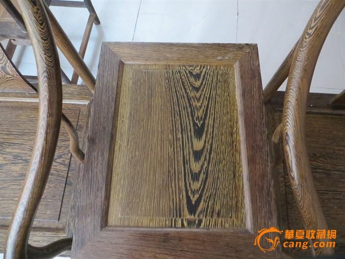 鸡翅木圈椅三件套,榫卯结构天然生漆