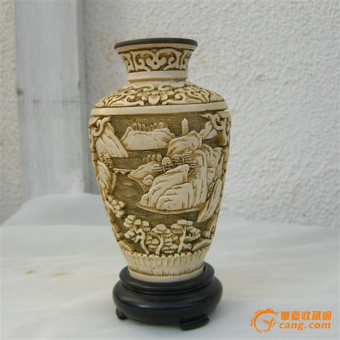 銅胎剃白玉壶春瓶-图1