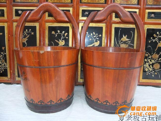双凤朝阳大号带柄水桶木桶
