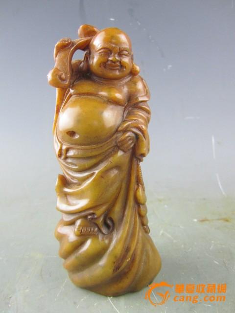 寿山石雕如意弥勒佛摆件
