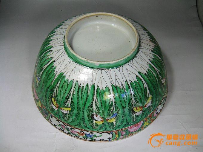 清代大号百财粉彩绘画描金碗