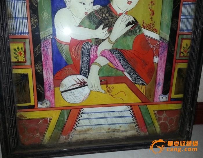 特价清代彩色玻璃画人物母子摸奶图玻璃挂件包老稀少