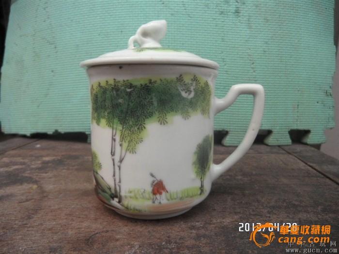 50年代手绘竹子人物茶杯