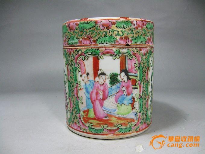 清代广彩人物绘画鸦片罐图片
