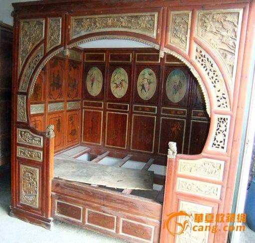 特价 鎏金漆画老床架子床