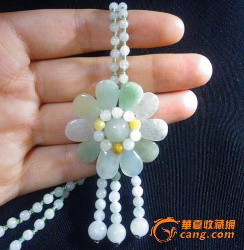 翡翠a货珠子手编太阳花向日葵花朵项链成品图片