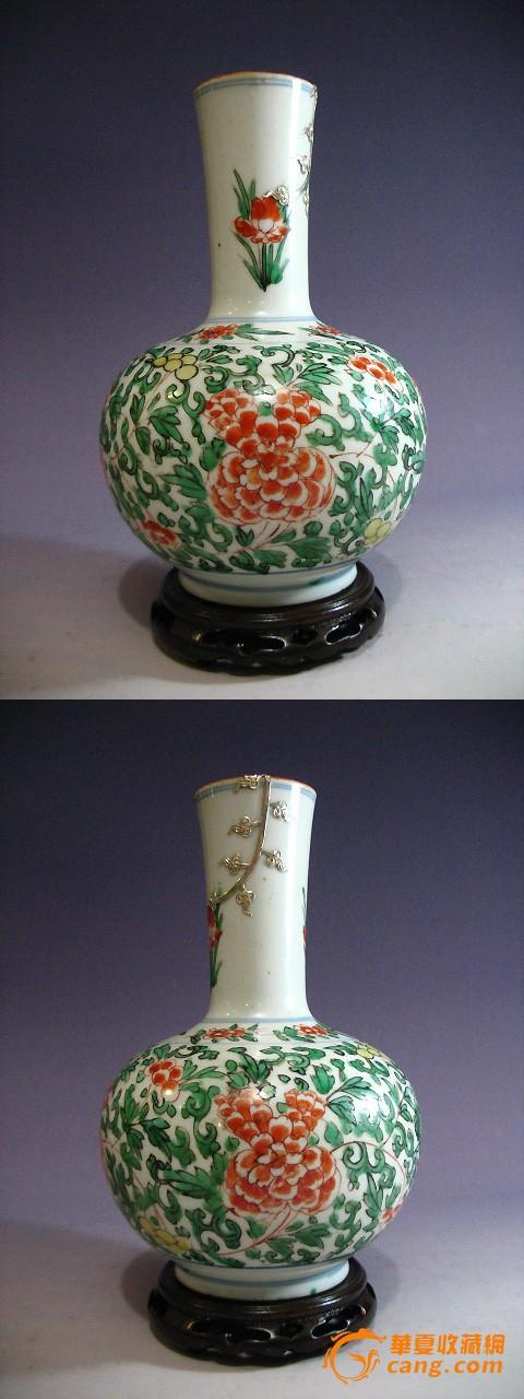 康熙-五彩缠枝花纹赏瓶