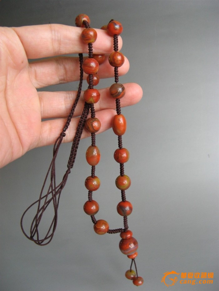 25118圆珠吊坠绳编战国红圆珠玛瑙项链6条-4