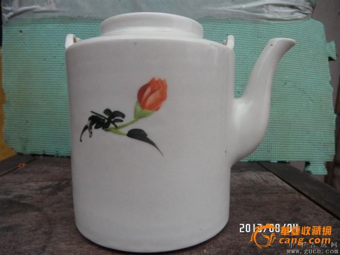 50年代手绘花卉提梁壶
