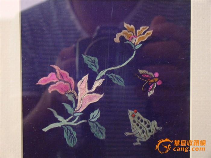 清代花卉动物刺绣