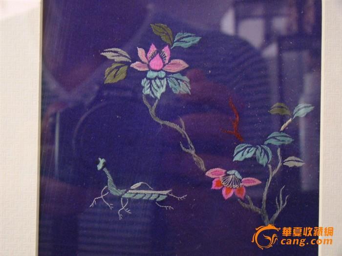 清代花卉动物刺绣图片