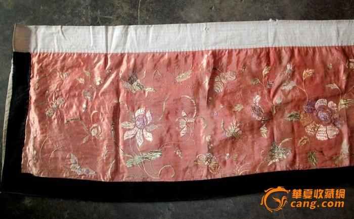 花卉蝴蝶刺绣绸缎床帘
