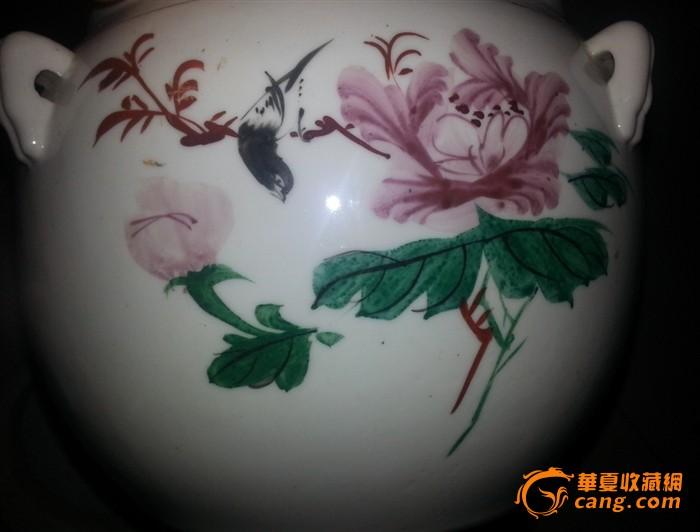 文革手绘花鸟罐(全品)