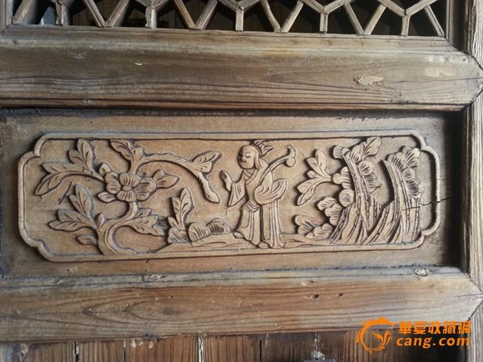 手工精致雕刻老木门窗户及窗花柜门人物板