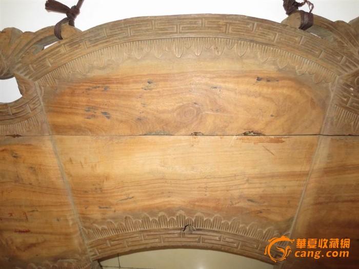 清代木雕蝙蝠回纹书卷大花板