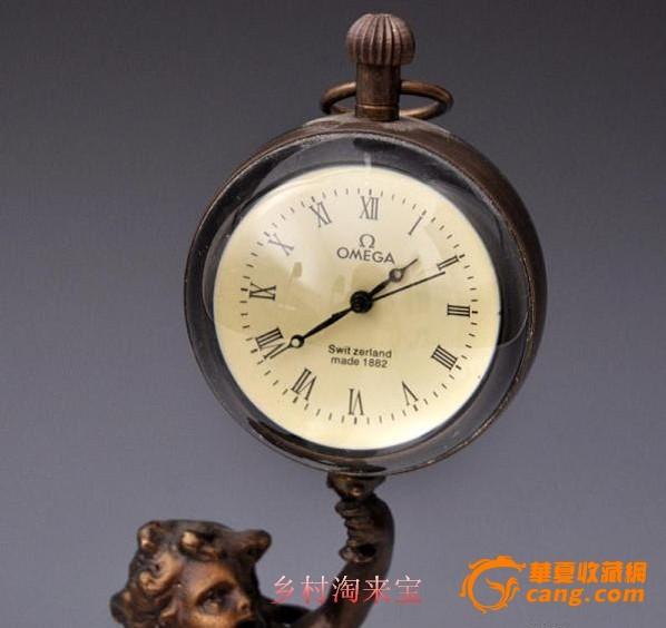 黄铜水晶 欧米茄 机械座钟图片