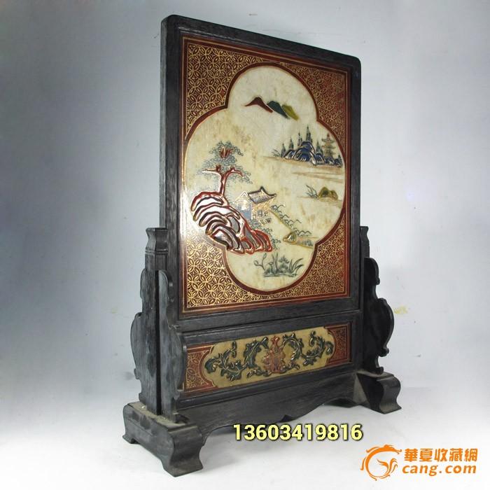 檀木镶嵌石板画 手绘山水风景屏风