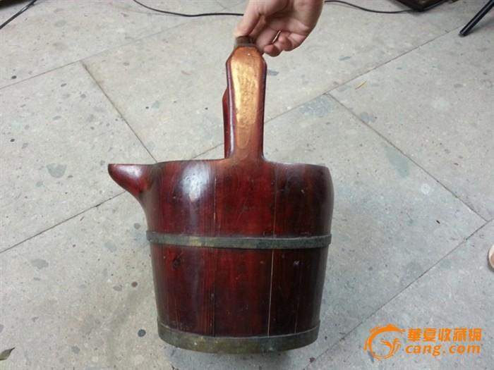 【江啸堂】藏品 民国老木头朱红漆小水桶1只