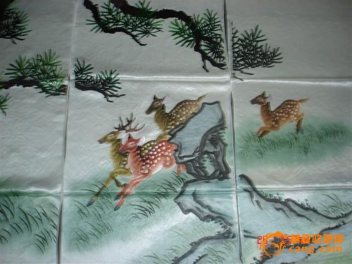 湘绣民间工艺品:松鹿图八条