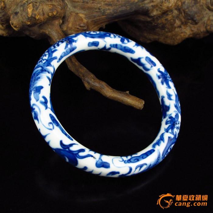 内径63mm青花瓷手绘龙凤纹精美手镯一只