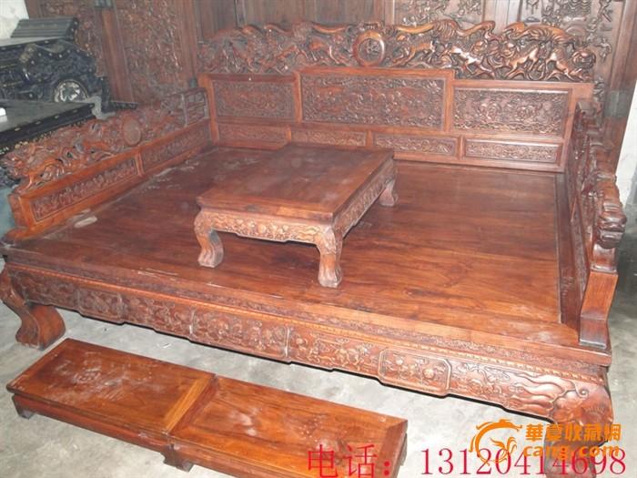 古典家具 雕狮子罗汉床 特价销售图片