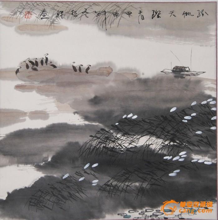张哲珠(中国美协)国画山水画 斗方《孤帆天际》图片