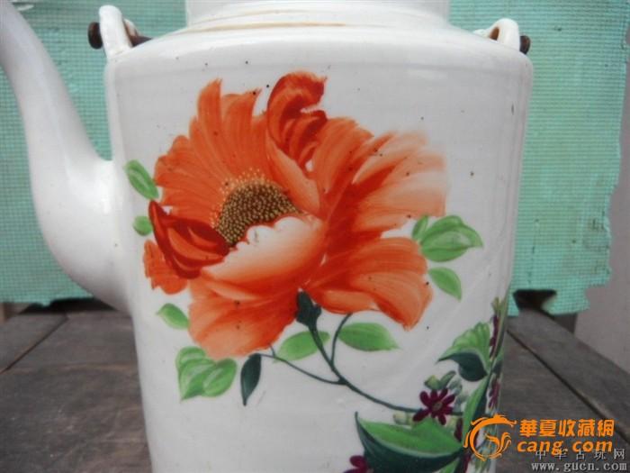 50年代手绘一枝花提梁壶