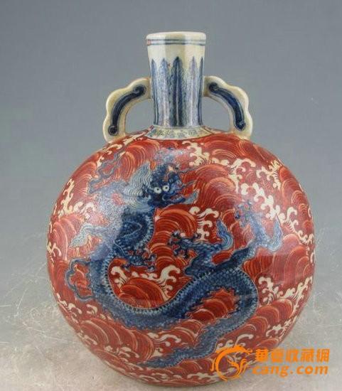 明宣德矾红海水青花龙纹扁瓶图5