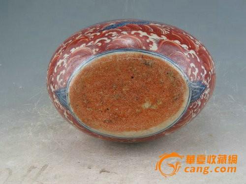 明宣德矾红海水青花龙纹扁瓶图7
