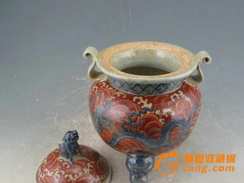 明宣德矾红海水青花龙纹香炉图6