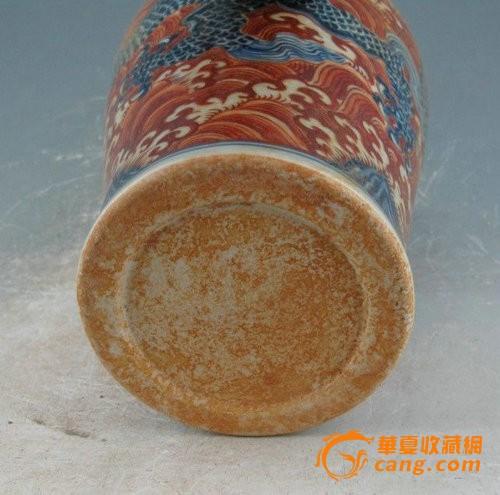 明宣德矾红海水青花龙纹梅瓶图6