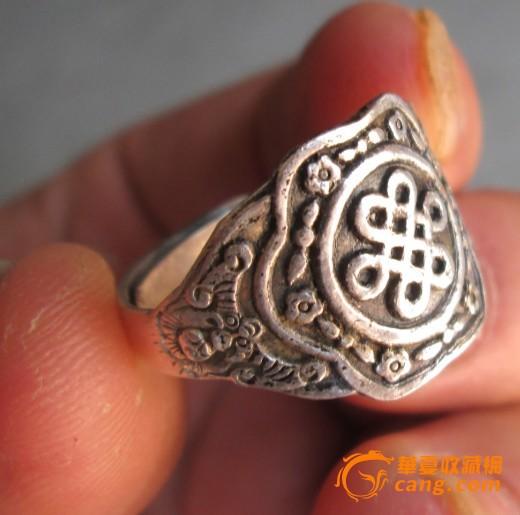 中国结福老银戒指一枚