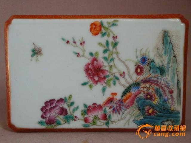 清-粉彩描金-花鸟墨床图2